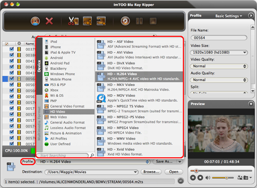 ImTOO Blu Ray Converter for Mac Guide - Output settings