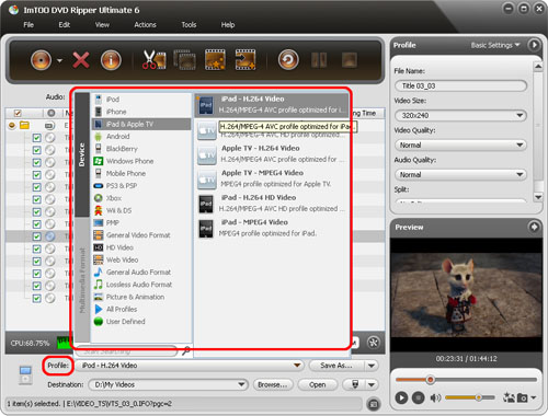 ImTOO DVD to Video Ultimate - Set output format