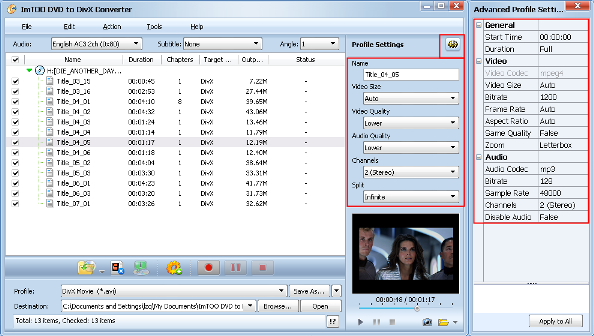 ImTOO DVD to DivX Converter Guide - Output settings
