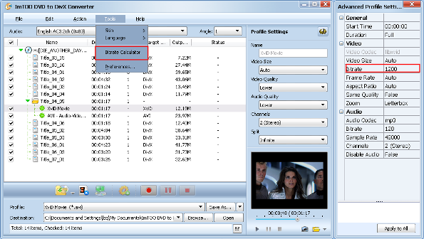 ImTOO DVD to DivX Converter Guide - Custom output size