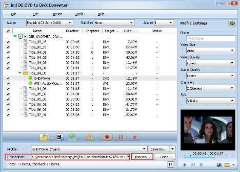 ImTOO DVD to DivX Converter Guide - Set output folder