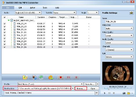 ImTOO DVD to MP4 Converter Guide - Set output folder