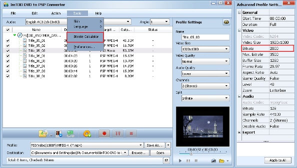 ImTOO DVD to PSP Converter Guide - Custom output size