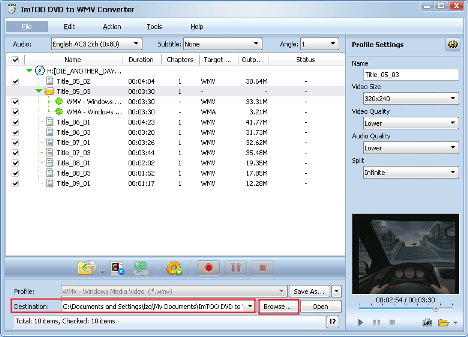 ImTOO DVD to WMV Converter Guide - Set output folder
