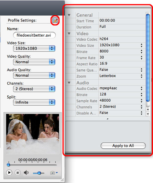 ImTOO HD Video Converter for Mac - settings