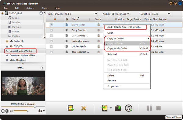 Export videos files to iPad