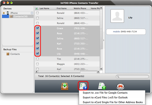 ImTOO iPhone Contacts Transfer for Mac Guide - Export to local
