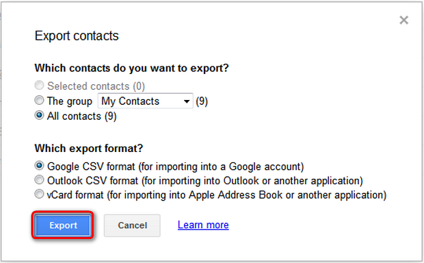 Save ad google csv contacts