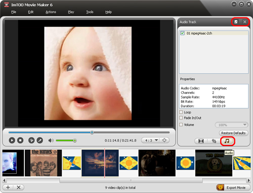 ImTOO Movie Maker - Add audio track