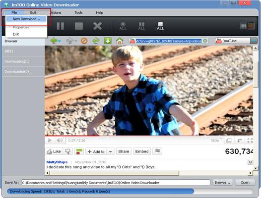 Hvordan at kopiere og indsætte url at downloade online video.