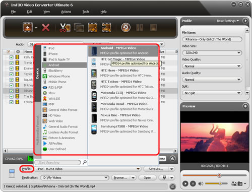 ImTOO Video Converter Ultimate - Add file and set output format