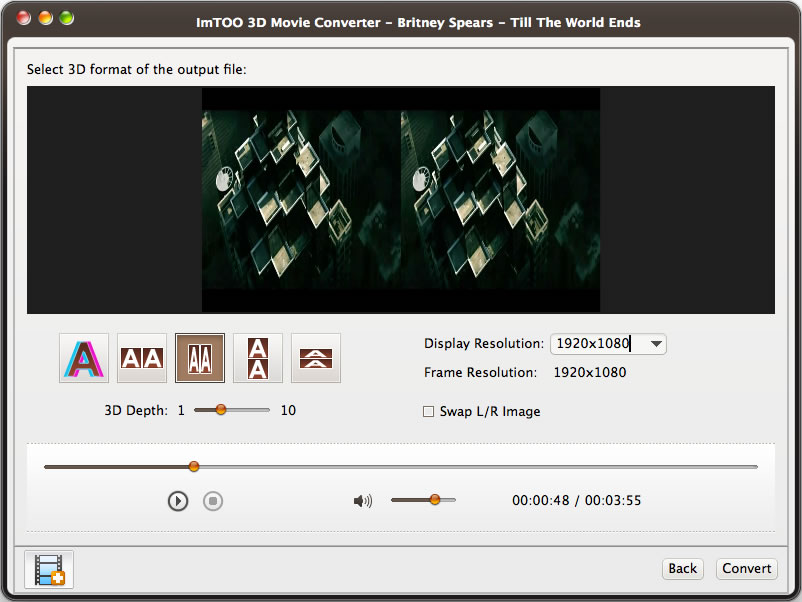 ImTOO 3D Movie Converter for Mac Screenshot