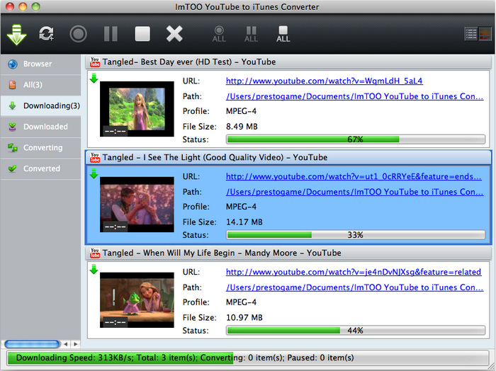 ImTOO YouTube to iTunes Converter for Mac Screenshot